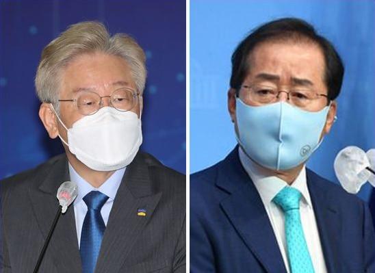 더불어민주당 소속 이재명(왼쪽) 경기지사와 무소속 홍준표 의원. /연합뉴스
